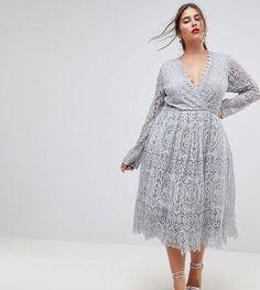 Asos Long Sleeve Lace Midi Prom Dress
