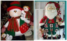 Bonitos muñecos navideños de santa y muñeco de nieve con moldes ~ lodijoella