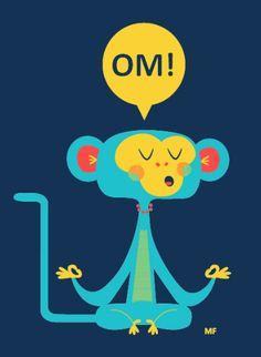 OM! Monkey t-shirt designed by illustration team Carlos & Celia of Menu Familiar | Namasté / Yoga & Meditation