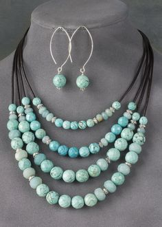 Faceted_Large_Hole_Turquoise_Howlite_and_Amazonite_Jewelry_800.JPG (571×800)