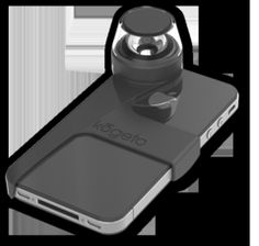 Attachment for the iPhone 4 and 4S that allows users to capture immersive panoramic video and share it with friends via Facebook, Twitter, or email.
