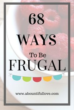 A Bountiful Love: 68 Ways To Be Frugal