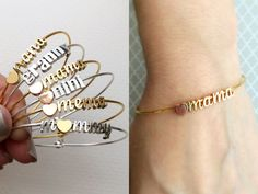 SALE Build Your Own Bangle Bracelet - Any Charms Bracelet Mama Bracelet Mother Mommy Bangle Mothers Bracelet Petsonalized Gift Initial