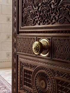 Detail of Door Inside the Sultan Qaboos Hall, Al-Ghubrah or Grand Mosque, Muscat, Oman, Middle East-Gavin Hellier-Photographic Print Knobs And Knockers, Door Knobs, Door Handles, Wood Windows, Windows And Doors, Panel Doors, Screen Doors, Design Marocain, Art Et Design