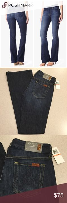 """7 For All Mankind Jeans 26X33.5 A Pocket Flare NYD 7 for all mankind jeans A pocket flare Nouveau New York dark wash NEW WITH TAGS! (Modeled picture is of exact fit and wash) Size 26 33.5 inch long inseam Beautiful medium to dark wash with beautiful fading Stretch medium weight denim """"The """"A"""" Pocket  is a slight flare with a contoured waistband and our signature """"A"""" back pockets"""" All of my items come from a smoke free, pet free home and are authenticity guaranteed! Please ask any questions…"""