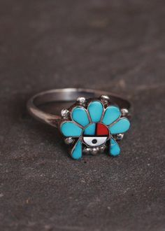 Zuni Turquoise Coral Sun Face Ring - Size 5.5
