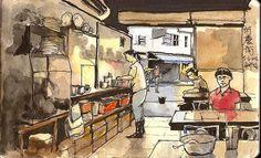 Sketching at a Noodles Shop