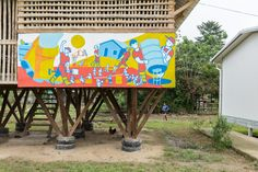 al borde + taller general elevate a lunchroom using functional legs in suburban ecuadorian community Lunch Room, Pavilion, Reuse, Community, Patio, Architecture, Outdoor Decor, Architectural Firm, Dining Room