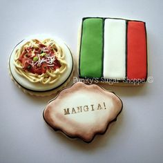 """These cookies were auctioned off at a fundraiser for youth programs and improvements in the city I live in. The theme was """"Taste of Italy"""". Royal Icing Cookies, Cupcake Cookies, Sugar Cookies, Italy Party, Italian Themed Parties, Youth Programs, Cookie Favors, Cookie Designs, Edible Art"""