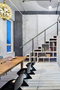 Basement stair storage idea