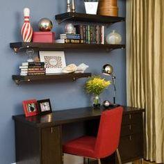 staggered shelving above desk. Black Bedroom Furniture Sets. Home Design Ideas