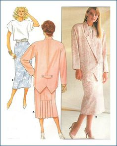 Butterick  4636 Misses Jacket Skirt Top Top Size 8 10 12 Uncut