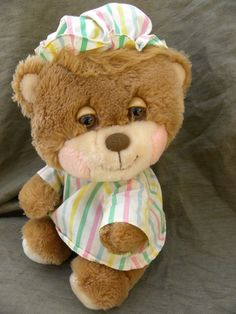 Vintage Teddy Bear Plush Pajamas Night Cap Striped Stuffed Sleepy Eyes Soft Toy #VintageTeddyBear
