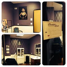 Esthetician room. Deep matte eggplant with a black accent wall of wallpaper. Great for lash and brow specialist.