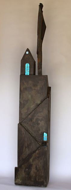 "Contemporary Sculpture - ""Precarious"" (Original Art from Hidden Spring Designs) Concrete, glass, stone"