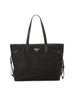 Vela Side-Cinch Shopping Tote Bag, Black (Nero) by Prada at Neiman Marcus.