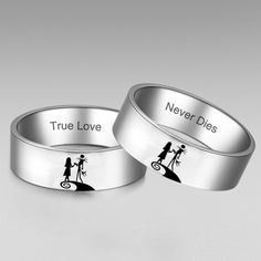 The Nightmare Before Christmas Inspired Jack and Sally Ring His and Hers Rings Wedding Rings