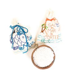 Sal Del Mar - Sea Salt from the Sea of Cortez in Mexico. This would be a great gift idea for the foodie in your life! Plus the hand embroidered muslin bag is gorgeous!