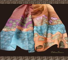 Hand Painted Scarf-Silk Painting-Flower scarf-painted scarf-Roses scarf-Leaves-Gift for her-Silk Scarves-Chiffon Scarf-Handpainted scarves  This scarf is hand painted on synthetic chiffon.  Attract the attention dressing on yourself piece of art - hand painted long scarf with roses and leaves, Brown, Magenta, Blue colors, old gold color contour.  This hand-painted scarf is a great addition to your evening dress, but you could wear it as an elegant accent to your daily wear. The fabric is…