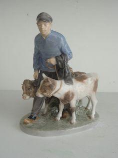 Boy with Calves Royal Copenhagen Porcelain Figurine 1858 Christian Tomsen 1959   eBay