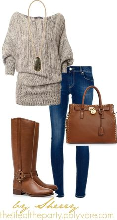 brown off the should SWEATER tan off the shoulder long tee dark jeans tan riding OR dark brown boots SCARF