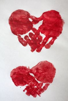 "Red Ribbon Week - Red handprint hearts - great classroom or lunchtime activity during Red Ribbon Week to promote the protective factor, ""caring relationships!"""