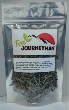 Uva Greenland Silver Tips Ceylon White Tea One Ounce (28 g) Packet. Now available at http://www.teajourneymanshop.com.