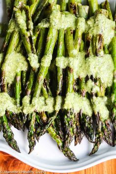 Grilled Asparagus with Mint Feta Pesto - a delicious and easy way to dress up asparagus this summer ~ http://jeanetteshealthyliving.com