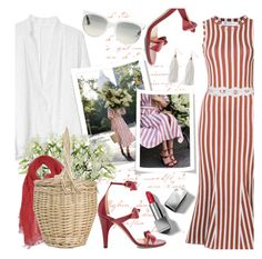"""""""Striped Dress & Bow Embellished Sandals"""" by brendariley-1 ❤ liked on Polyvore featuring Victoria Beckham, Gap, Chloé, Dondup, Diane Von Furstenberg, Ray-Ban, Humble Chic and Burberry"""