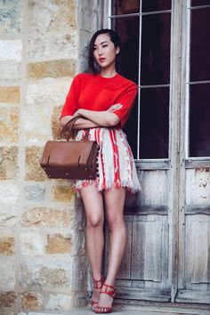 Red Tweed Skirt with a Classic Red Sweater #TheChriselleFactor