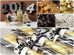 A sophisticated graduation party featuring licorice Scottie dogs, gold coins and black and gold candy sticks!