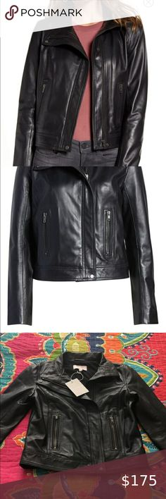 Chelsea 28 Stand Collar Leather Jacket NWT size XS Perfect condition - NWT Never worn Size XS Chelsea28 Jackets & Coats Leather Jackets