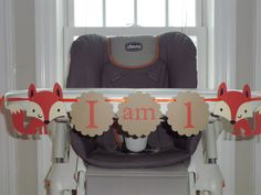 "FOX Birthday high chair banner ""i am 1""  BOY birthday. first birthday,. outdoor wild life party, winter woodland creatures. $12.00, via Etsy."