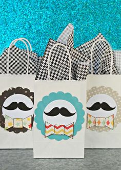 "Party favor bags..Great For a ""Guy B'Day"" Event...Include Shaving Cream, Pens, A Great Age-Appropriate Custom CD, and Some Sample Toiletries For Travel Needs...Geez, I Feel Creative Already!!"