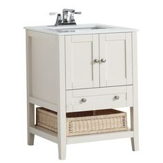 Cape Cod 24-inch W Vanity in Soft White Finish with Quartz Marble Top in White ($959)