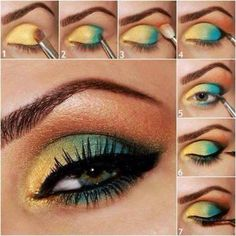 Yellow and blue gradient eye makeup tutorial #evatornadoblog