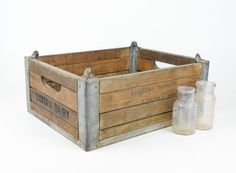 Antique Wood and Metal Dairy Crate / Rustic Industrial Storage Box via Etsy