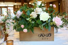 Bespoke wedding bouquets and bridal flowers created by Gravesend florist. Vintage styled custom wedding invitations and styling serving Gravesend and Kent. Personalised Wooden Box, Pink Petals, Table Centers, Bridal Flowers, Custom Wedding Invitations, Flower Boxes, Wedding Bouquets, Centre, Roses
