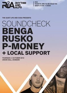 Rhythm and Alps Soundcheck ft. Benga + Rusko + P-money + Local Support - Thursday, 4 October - Dunedin