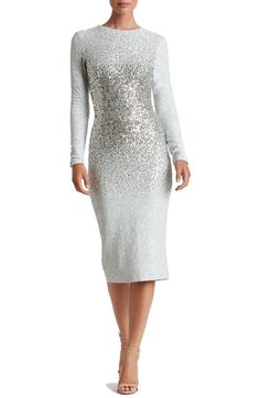 Dress the Population ~ ~ Sequin Midi Dress –SILVER ---  Snow-white sequins diffused with metallic shine create an ombre dimension on this glistening body-con dress that is also quite modest.  Long sleeves, jewel neckline, back slit, dress is fully lined.  Fabric is 90% polyester plus 10% Spandex.      Nordstrom's   This is a beautiful white dress that has a gradual increase in the glittery silver sequins in the dress torso and then it gradually tapers off back to white.  Very stunning…