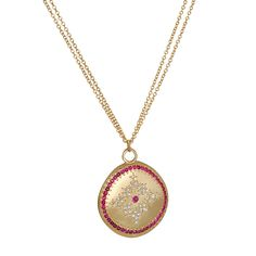 Adel Chefridi | 18k Yellow Gold Ruby & Diamond 'Nostalgia' Necklace | Max's Gold Coin Necklace, Pendant Necklace, Jewelery, Jewelry Necklaces, Snowflake Pattern, Jewelry Boards, Gold Coins, Nostalgia, Fine Jewelry