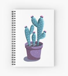 'Sparkly Cactus Plant' Spiral Notebook by PounceBoxArt Notebook Design, Cactus Plants, Notebooks, Spiral, Paper, Cactus, Notebook, The Notebook