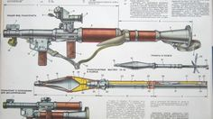 Schematic posters RPG-7 infographics HD Wallpaper