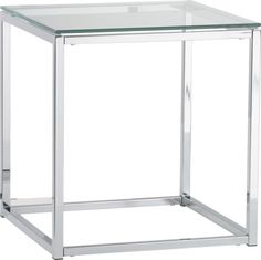 "smart glass top side table $149.00 17.75""Wx17.75""Dx19""H Line up or stagger 3 for coffee table;  or quad four in a square for large workspace  > versatile for future configurations, classic, modern, clean-line. Will add a little ""sparkle"" to the upstairs with the glass & reflective silver."