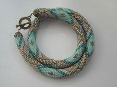 Bead Crochet Necklace  Cool Water  Bead Crochet by GoodJewelery, $84.00