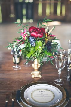 Gorgeous winter wedding centerpiece with ruby red peonies and blueberries. Winter Wedding Centerpieces, Reception Table Decorations, Wedding Reception Decorations, Floral Centerpieces, Centrepieces, Centerpiece Ideas, Decor Wedding, Table Centerpieces, Floral Arrangements
