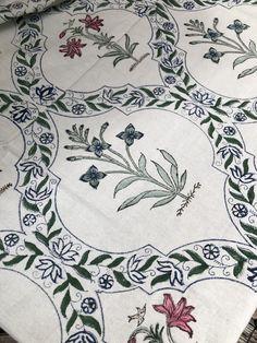 Block Print Garden Trellis Tablecloth
