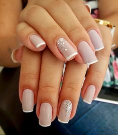 Nail art Christmas - the festive spirit on the nails. Over 70 creative ideas and tutorials - My Nails Classy Nails, Stylish Nails, Cute Nails, Pretty Nails, French Nails, Bridal Nails French, Elegant Bridal Nails, Glitter French Manicure, Elegant Wedding