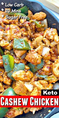 Keto Cashew Chicken - Easy 20 minute low carb chinese food recipe that& better than takeout! This keto cashew chicken is easily made in one skillet and can be served with cauliflower rice! Low Carb Recipes, Diet Recipes, Chicken Recipes, Cooking Recipes, Healthy Recipes, Recipe Chicken, Ketogenic Recipes, Quick Recipes, Recipes Dinner