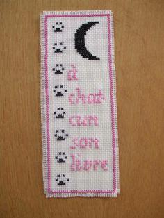 """point de croix : marque page """"pattes de chat"""" - objets déco - Les créations de Christine - Fait Maison"""